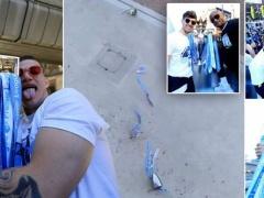 【 動画 】プレミアの優勝トロフィーが2階から落ちて大破!? マンC・アグエロの表情www