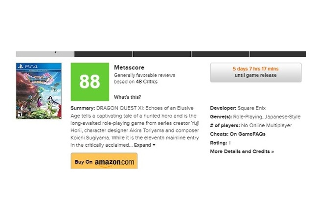 【朗報】『ドラクエ11』メタスコア88点で海外でも認められる!!ユーザーの評価はまだ不明