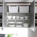 『●キッチンの吊り戸棚収納● ダイソーの収納グッズですっきり、出し入れしやすく!!』の画像