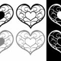 蔓模様の装飾的なハートイラスト素材 モノクロ