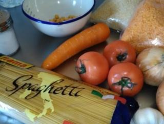 野菜と3種の豆のパスタ作るよ