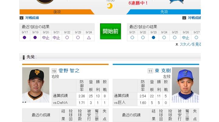 【 巨人実況!】vs DeNA(25回戦)!先発は菅野!捕手は小林!18:00~