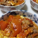 トマトと牛肉と卵の中華炒め