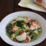 食べるスープ。菜の花と豆腐のかきたまスープ