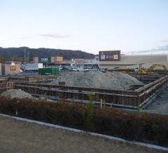 フレンドタウン交野の駐車場横に「和食さと」の出店計画。3月初旬のオープンに向けて建設中