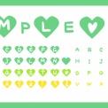 手描きアルファベットのハート素材 グリーン・黄色