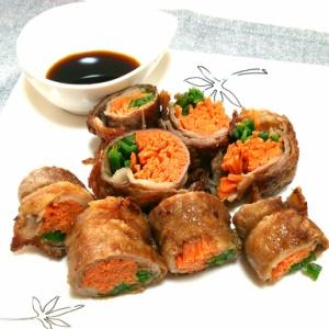 牛薄切り肉の野菜巻き