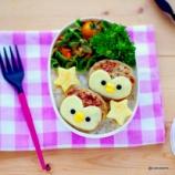 『ハンバーグにチーズを乗せるだけ・ペンギンちゃん弁当』の画像