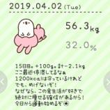 『56.3kg。合計2.1kg減量。920kcal。15日目。ダイエットを始めてから、初の運動をした日。祝』の画像