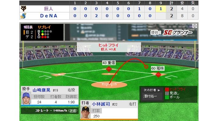 【 動画 】<巨人×DeNA 9回表> 途中出場の小林が同点タイムリー![巨2-2De]