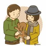 『仔犬とカップルのイラスト』の画像