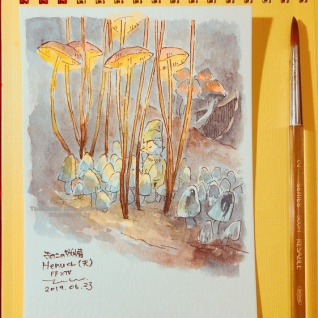 『【漆黒カウントダウン】FF14水彩絵「きのこの妖精Henuくん(夫)」【あと9日】』の画像