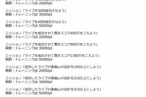 【ミリシタ】「スペシャルトレーニング応援キャンペーン」実施!新規ミッション追加、既存ミッションの調整など!