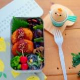 『メンチカツ弁当と黒い春雨のサラダ』の画像