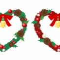 クリスマスリースのイラスト素材 赤と緑