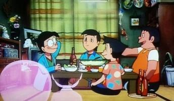のび太の結婚前夜でののび太たちが剛田商店で飲み明かすシーン