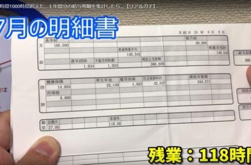 【画像あり】118時間残業をしたオッサンの給料明細をご覧下さい・・・ のサムネイル画像