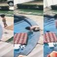 プールに誤って落ちてしまった幼児を男の子が救助。その様子を監視カメラが撮影していた