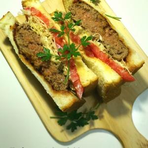 ボリュームたっぷり 肉汁たっぷり!ハンバーグサンドイッチ
