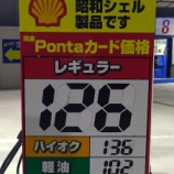 『浜松のガソリン価格最安値は126円に、原油価格下落の影響で今月の底値が120円台へ』の画像