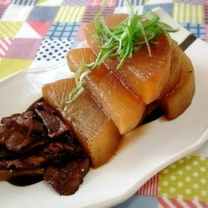 大根と豚バラ肉のウスターソース煮込み