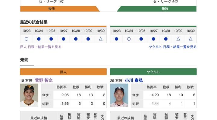 【巨人実況!】vs ヤクルト(21回戦)![10/31] 先発は菅野!捕手は大城!