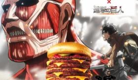 【日本の食品】   ロッテリア ☓ 進撃の巨人 の巨大ハンバーガーが出るぞ!! 10段重ねの 10メートル級ハンバーガーがヤバイ!!  海外の反応
