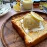 レモンペーストでお手軽レモンバタートーストバニラアイス添え