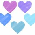 パステルクレヨン風のハートイラスト素材 パープル~青
