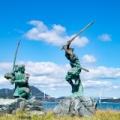 1612年4月13日、宮本武蔵剣豪と佐々木小次郎剣豪が、巌流島で、決闘の日