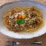 『お味噌のミートソースパスタ』の画像