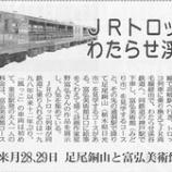 『(東京新聞)JRトロッコ列車わたらせ渓谷を行く』の画像