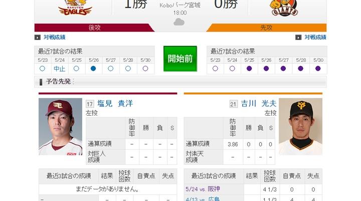 【 巨人vs楽天!】先発は吉川!1番センター長野、2番ライト石川、7番キャッチャー相川!18:00~