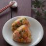 贅沢なおにぎり。鮭・アスパラ・コーンのバターしょうゆおにぎり。栄養豊富な金芽米で。