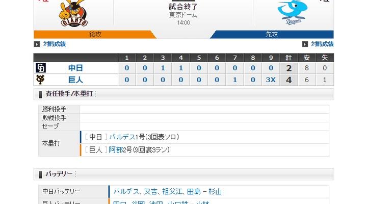 【 巨人vs中日 】試合終了!阿部がサヨナラ3ラン!4-2で中日を下し開幕2連勝!