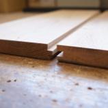 『オーク材の板接ぎ。昔ながらの木工技術です。』の画像