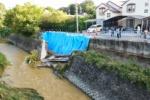 台風で天の川沿いの道が崩壊!~家から数m先が崩れてる@私市植物園近くの橋のところ~