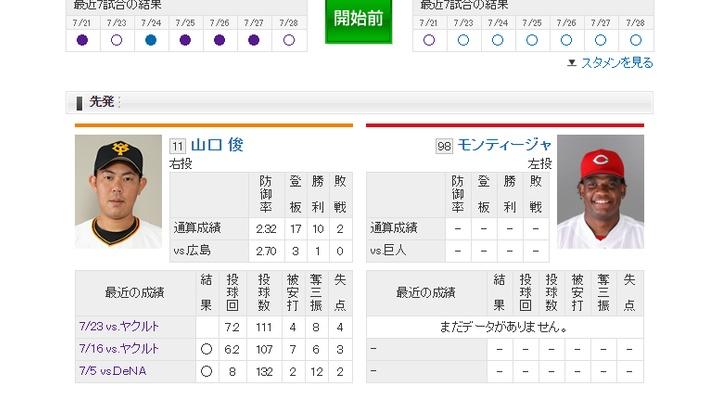 【 巨人実況!】vs 広島![7/30] 先発は山口俊!捕手は小林!