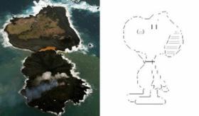 【島】 日本の 小笠原諸島に新たにできた島が スヌーピーに見えると話題に。   海外の反応