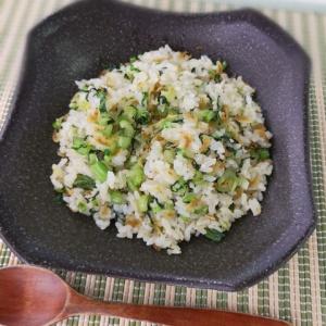 青菜の香りが食欲をそそる♪小松菜と干しエビの炒飯