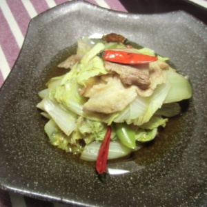 白菜とネギの唐辛子鍋