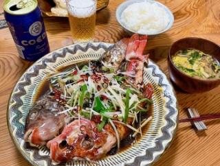 自宅めし ブダイとオジサンの清蒸鮮魚(チンジョンシエンユィ)