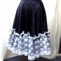 ミュージカルお稽古スカート ミモレ丈◆黒×白レース