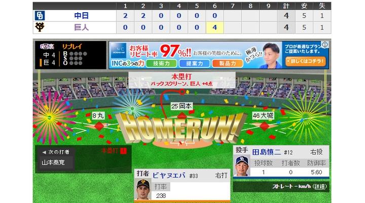 【 動画 】<巨人×中日 6回裏> 巨人・ビヤヌエバ、同点となる満塁ホームラン!