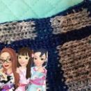 おもちゃ編み機アミーナ 縦にラインをいれてみる セリア コットンデニム・深みカラー