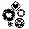 黒単色のフリー素材 装飾円とハートマーク