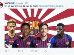 【 画像 】スペイン・マルカ紙「バルサの日本ツアー」記事の背景に旭日旗!やっぱり韓国で物議w