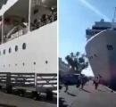 巨大クルーズ船、桟橋と観光船に衝突 ベネツィア