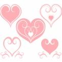 装飾的なピンクハート5種