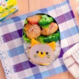 『混ぜサバご飯レモン添えと大根ステーキ猫ちゃんのキャラ弁』の画像